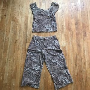 Express Leopard Print Sheer Pajama Set